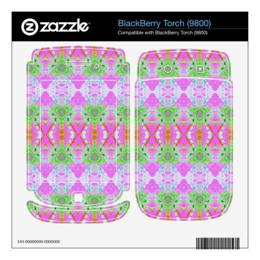 Pretty pastel pink green jewel pattern BlackBerry torch decal