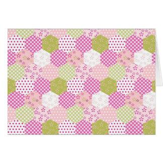 Pretty Pastel Pink Green Patchwork Quilt Design Card
