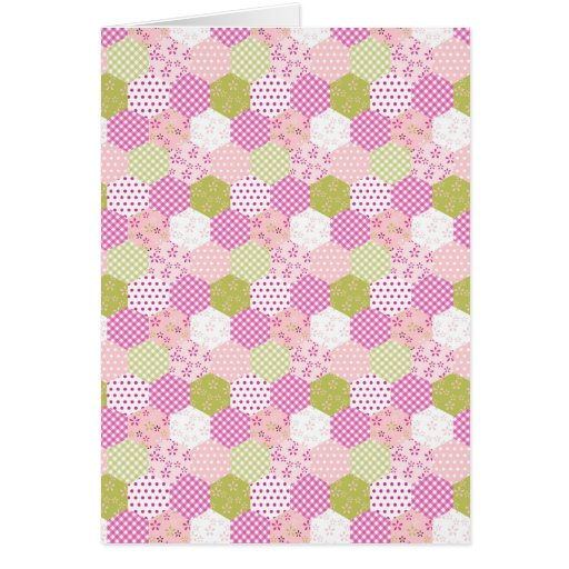 Pretty Pastel Pink Green Patchwork Quilt Design Greeting Card