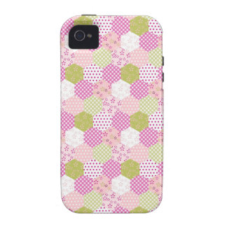 Pretty Pastel Pink Green Patchwork Quilt Design Case-Mate iPhone 4 Covers