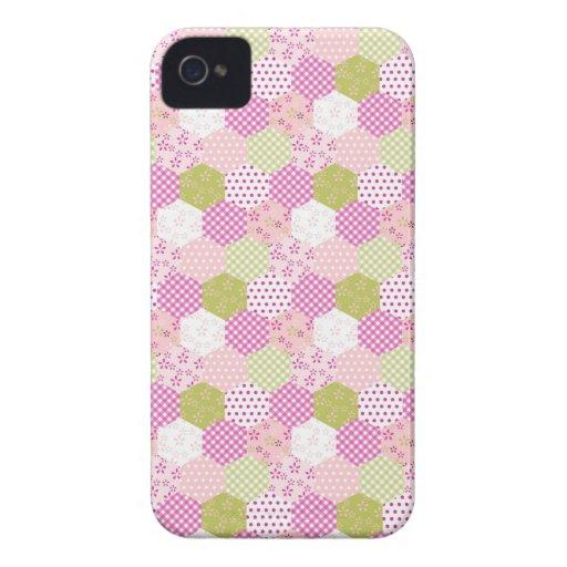 Pretty Pastel Pink Green Patchwork Quilt Design iPhone 4 Case