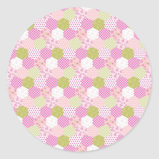 Pretty Pastel Pink Green Patchwork Quilt Design Classic Round Sticker
