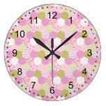 Pretty Pastel Pink Green Patchwork Quilt Design Round Clocks