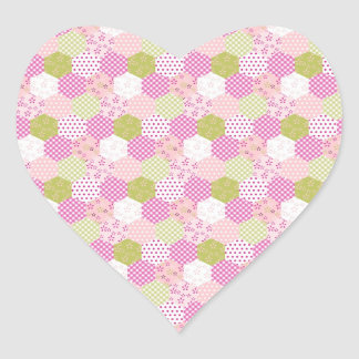 Pretty Pastel Pink Green Patchwork Quilt Design Heart Sticker