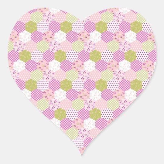 Pretty Pastel Pink Green Patchwork Quilt Design Heart Sticker