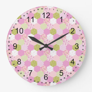 Pretty Pastel Pink Green Patchwork Quilt Design Large Clock