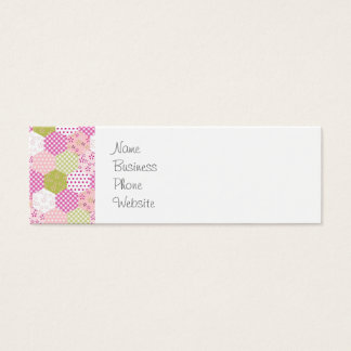 Pretty Pastel Pink Green Patchwork Quilt Design Mini Business Card