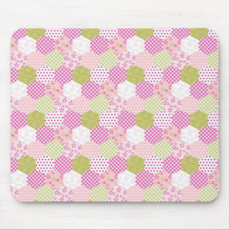 Pretty Pastel Pink Green Patchwork Quilt Design Mouse Pad