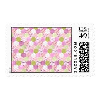 Pretty Pastel Pink Green Patchwork Quilt Design Postage