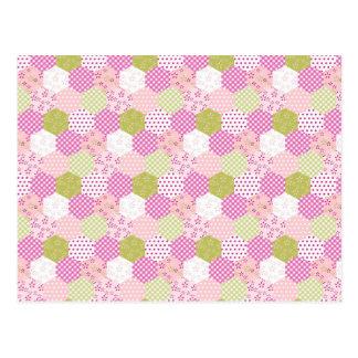 Pretty Pastel Pink Green Patchwork Quilt Design Postcard
