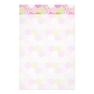 Pretty Pastel Pink Green Patchwork Quilt Design Stationery