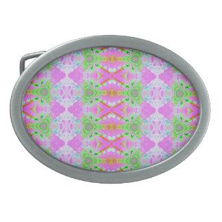 Pretty pastel pink green pattern belt buckles