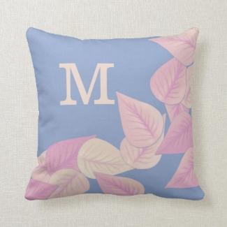 Pretty Pastel Pink Leaves On Blue Monogrammed