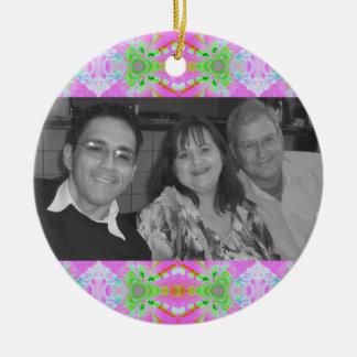 pretty pastel pink photo frame christmas ornaments