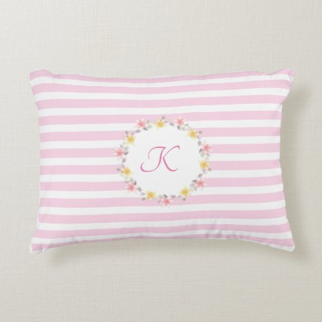Pretty Pastel Pink Stripes with Monogram Accent Pillow