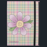 """Pretty Pastel Plaid iPad Pro Case<br><div class=""""desc"""">Girly iPad Pro case done in a pastel pink,  yellow,  and green plaid pattern,  with sweet graphics of a pink flower,  on the front.  Personalize the dark pink text,  on the front of the case,  for yourself or as a great gift idea.</div>"""