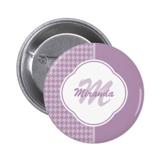Pretty Pastel Purple Houndstooth Monogram and Name 2 Inch Round Button