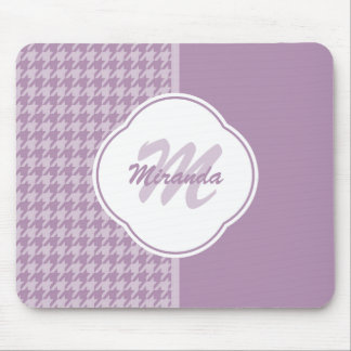 Pretty Pastel Purple Houndstooth Monogram and Name Mouse Pad