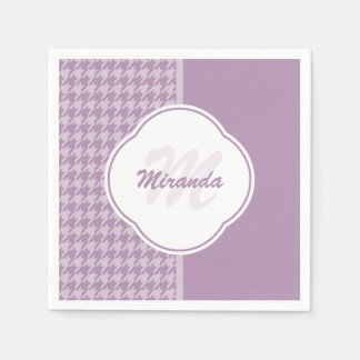 Pretty Pastel Purple Houndstooth Monogram and Name Paper Napkin