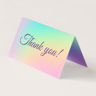Pretty Pastel Rainbow Gradient Thank You Cards