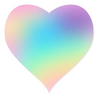 Pretty Pastel Rainbow Gradient Wedding Heart Sticker