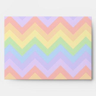 Pretty Pastel Rainbow Zigzag Stripes. Envelope