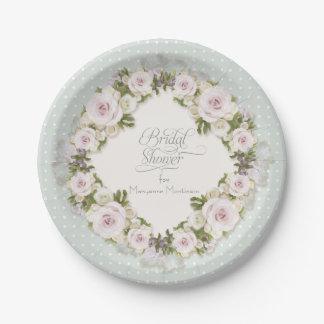 Pretty Pastel Roses Succulent Leaves w Dots Bridal Paper Plate