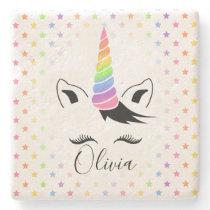 Pretty Pastel Unicorn Stone Coaster