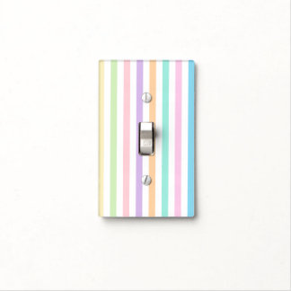 Pretty Pastel Vertical Stripes Light Switch Cover