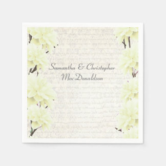 Pretty pastel yellow floral country wedding standard cocktail napkin