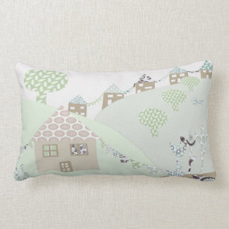 Pretty Patch work houses Lumbar Pillow