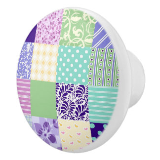 Pretty Patchwork Quilt inspired doorknob Ceramic Knob