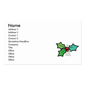 pretty patterened holly leaves business card