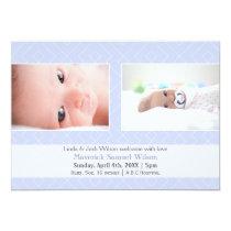 Pretty pattern Blue Mod Baby photo Announcement