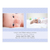 Pretty pattern Blue Mod Baby photo Announcement Postcard