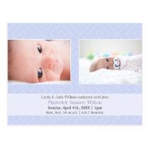 Pretty pattern Blue Mod Baby photo Announcement Postcard