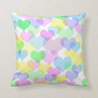 Pretty Pattern of Overlapping Pastel Hearts Pillow