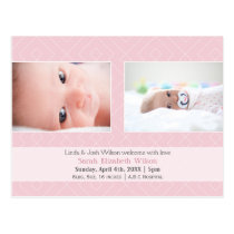 Pretty pattern Pink New Baby photo Announcement Postcard