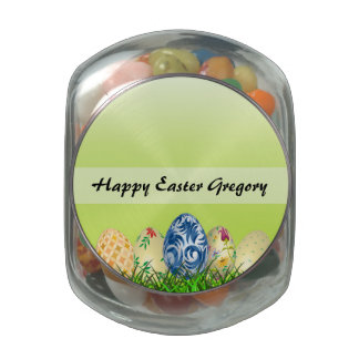 Pretty Patterned Easter eggs on spring green Glass Candy Jar