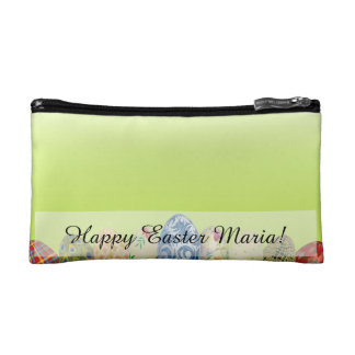 Pretty Patterned Easter eggs on spring green Makeup Bag