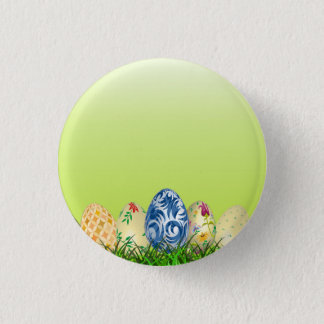 Pretty Patterned Easter eggs on spring green Pinback Button
