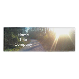 Pretty Paved Nature Path Winding in Woods Sunlight Name Tag