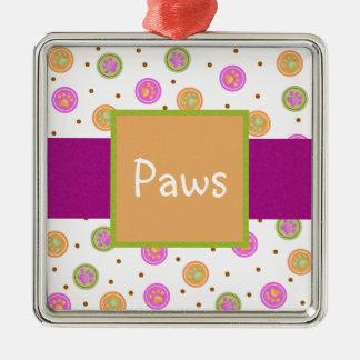 Pretty Paw Prints Metal Ornament
