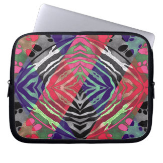 Pretty Paws Zebra Florescent Abstract Laptop Sleeve