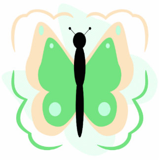 Pretty Peach And Green Butterfly Ornament