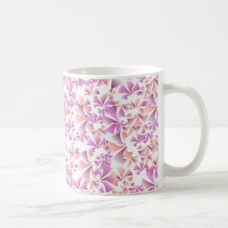 Pretty Peach and Pink Flower Pattern Classic White Coffee Mug