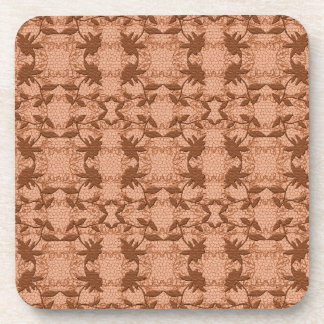 Pretty Peach Floral Coral Lace Pattern Coasters