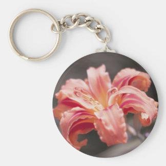 Pretty Peach Flower Keychain
