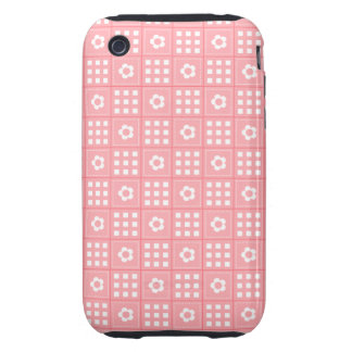 Pretty Peach Flower Patchwork Quilt Pattern Tough iPhone 3 Covers