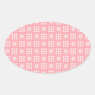 Pretty Peach Flower Patchwork Quilt Pattern Oval Sticker